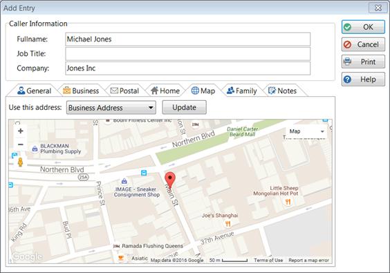 Add an Address Book Entry Caller Map on